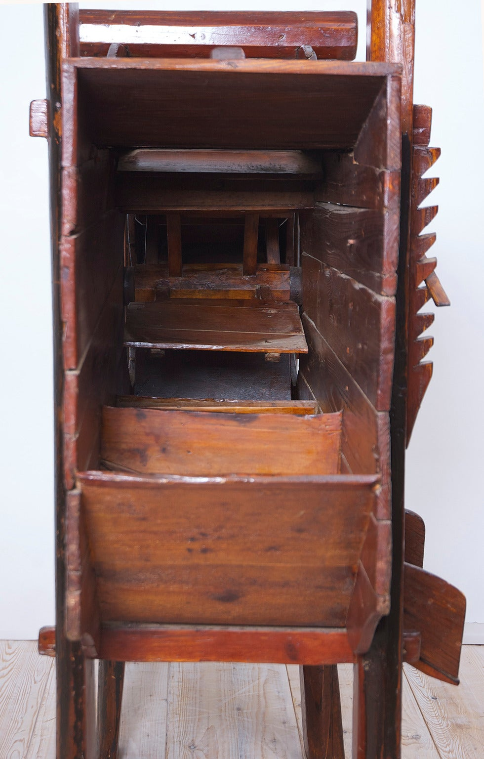 19th Century Wooden Chinese Rice Thresher With Painted