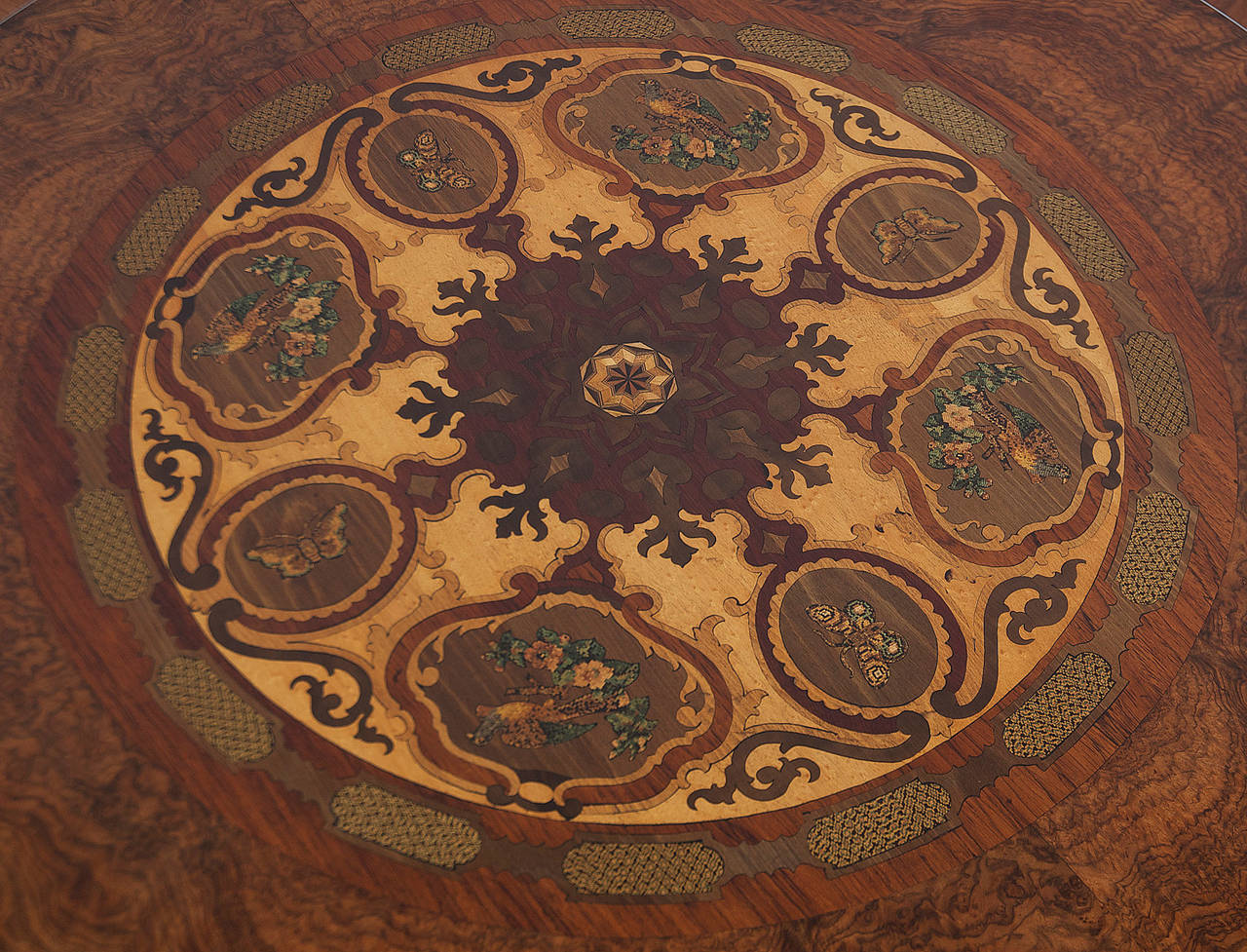 Inlay 19th Century Italian Center Table with Mosaic Marquetry on Round Top For Sale