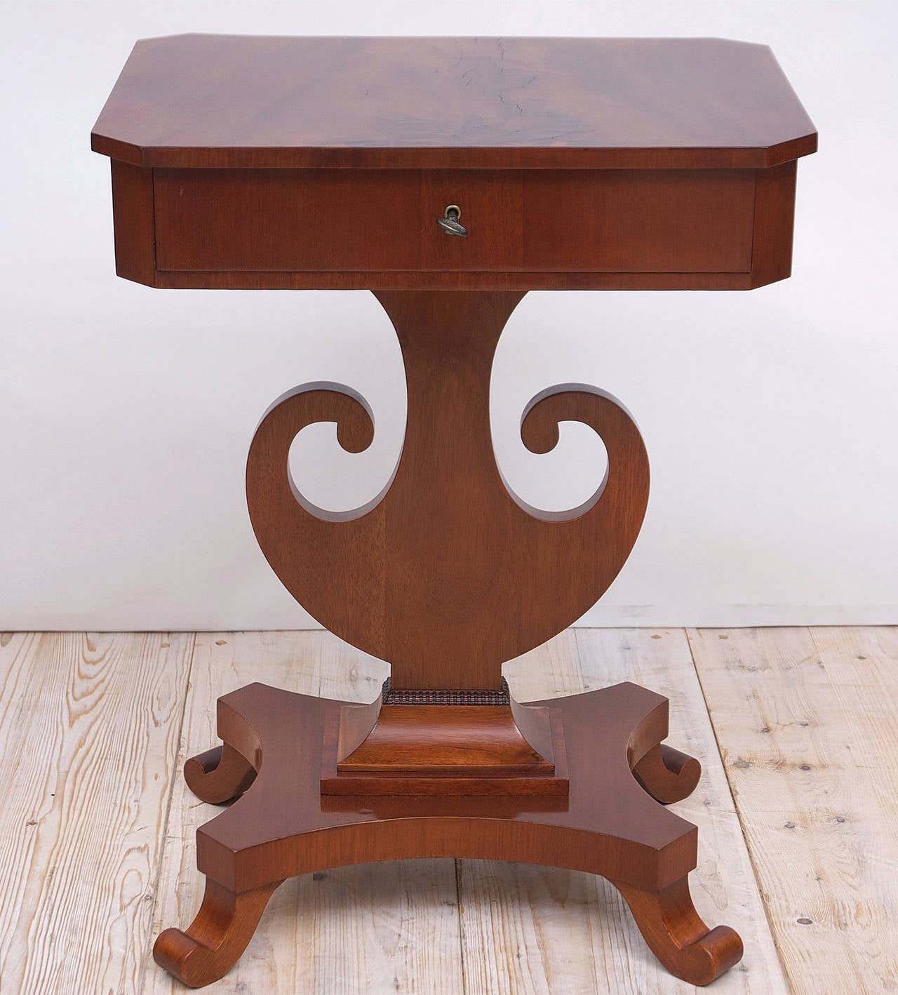 Swedish Antique Karl Johan Side Table with Lyre Base in Mahogany, Sweden, circa 1845 For Sale