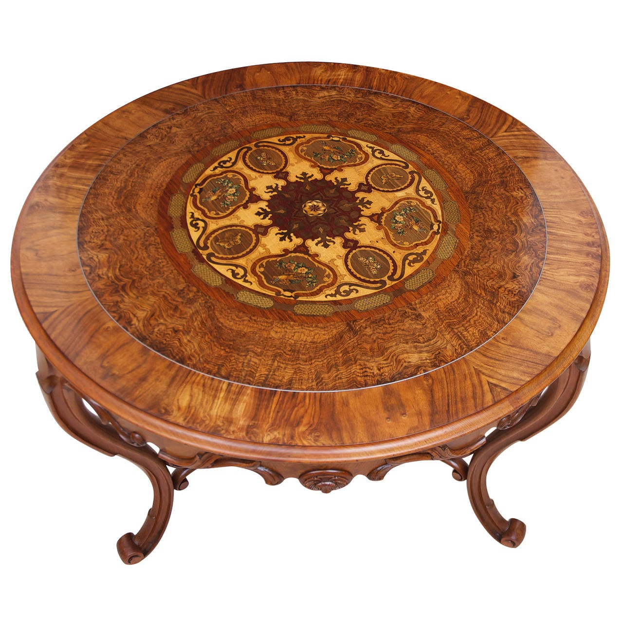 19th Century Italian Center Table with Mosaic Marquetry on Round Top 2