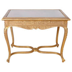 Belle Époque Gilded Writing Table in the Style of Louis XV