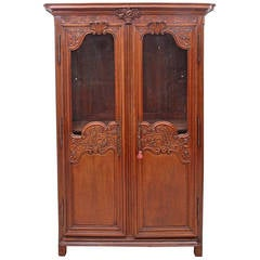 Louis XV Antique French Marriage Armoire in Carved Oak from Normandy, c. 1800