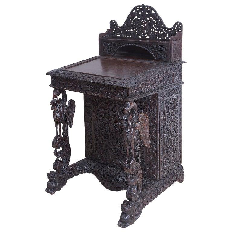 Antique And Vintage Secretaires 1495 For Sale At 1stdibs >> Carved Anglo Indian Davenport Desk With Griffins