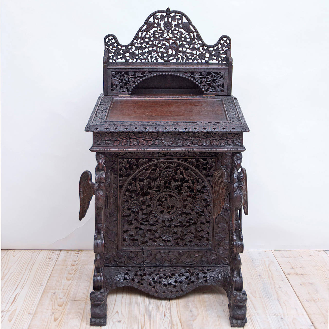 Carved Anglo Indian Davenport Desk With Griffins 2
