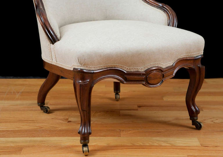 English Victorian Upholstered Slipper Chair in Mahogany, circa 1860 10