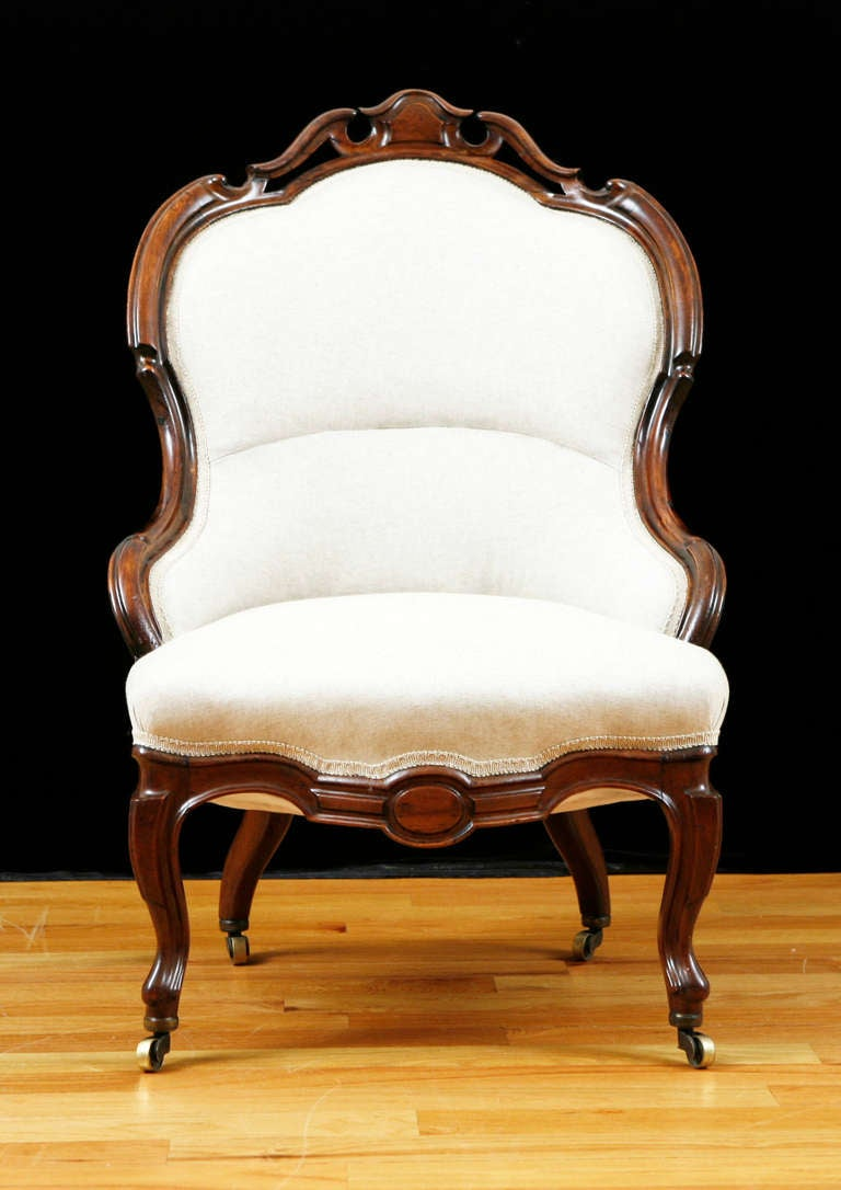 English Victorian Upholstered Slipper Chair in Mahogany, circa 1860 3