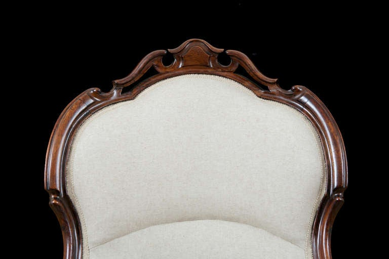 English Victorian Upholstered Slipper Chair in Mahogany, circa 1860 9