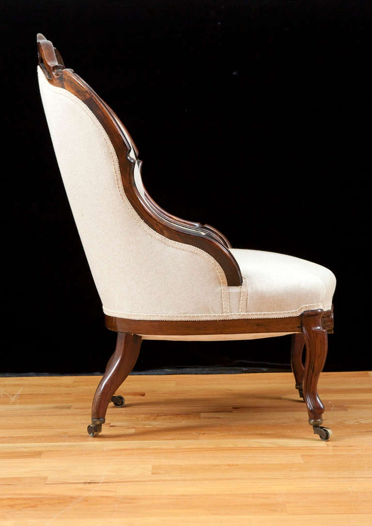 English Victorian Upholstered Slipper Chair in Mahogany, circa 1860 4