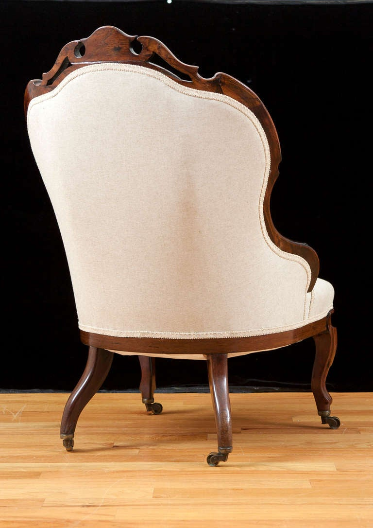 English Victorian Upholstered Slipper Chair in Mahogany, circa 1860 5