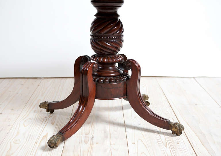 Polished American Federal Game or Side Table in Mahogany, Boston, circa 1815 For Sale