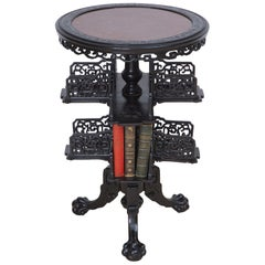 19th Century Chinese Round Export Table with Revolving Bookstand