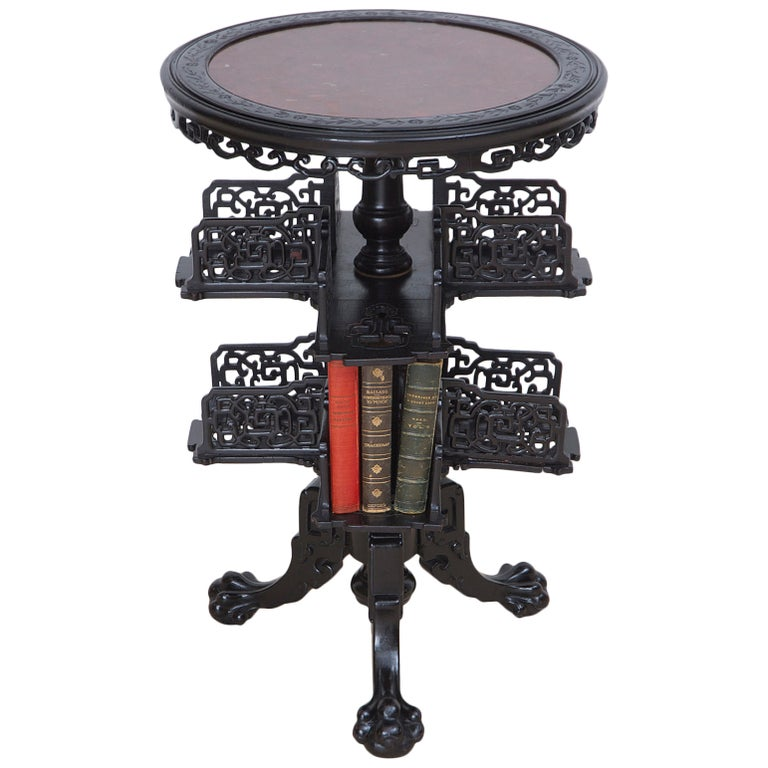 19th Century Chinese Round Export Table with Revolving Bookstand For Sale
