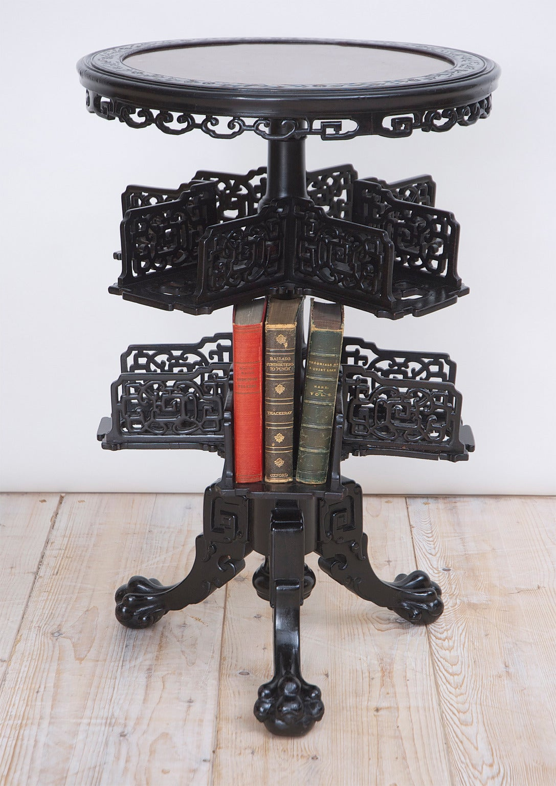 Chinese Export 19th Century Chinese Round Export Table with Revolving Bookstand For Sale