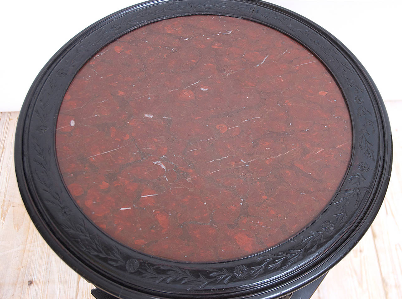 Ebonized 19th Century Chinese Round Export Table with Revolving Bookstand For Sale