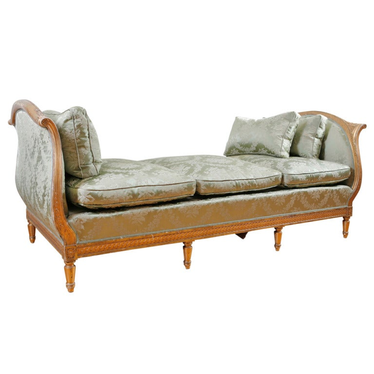 Antique french louis xvi style daybed in carved and gilded wood c