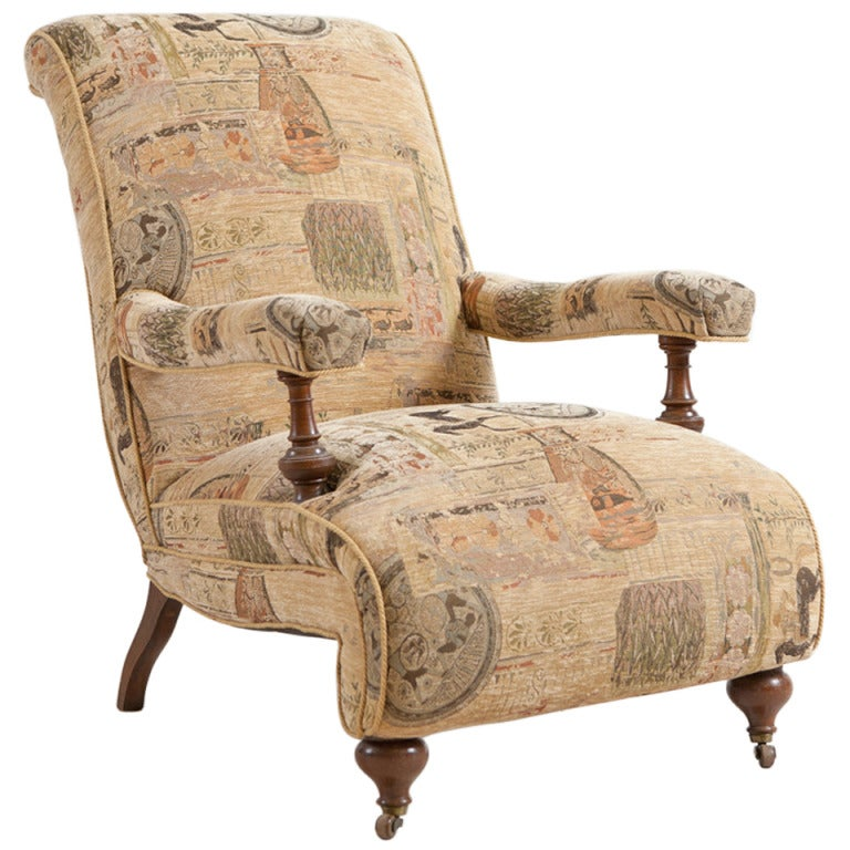 Danish Antique Upholstered Armchair Lounge Chair C 1915