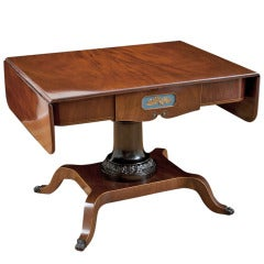 Empire Salon or Sofa Table in Mahogany with Satinwood Inlays, circa 1815