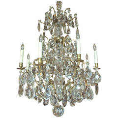 Rococo Style Swedish Crystal Chandelier with 16 Lights, circa 1910