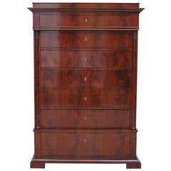 Biedermeier Tall Chest of Drawers in Book-Matched Mahogany, Copenhagen, c. 1820