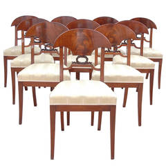 Set of 12 Empire Period Karl Johan Mahogany Dining Chairs, circa 1820