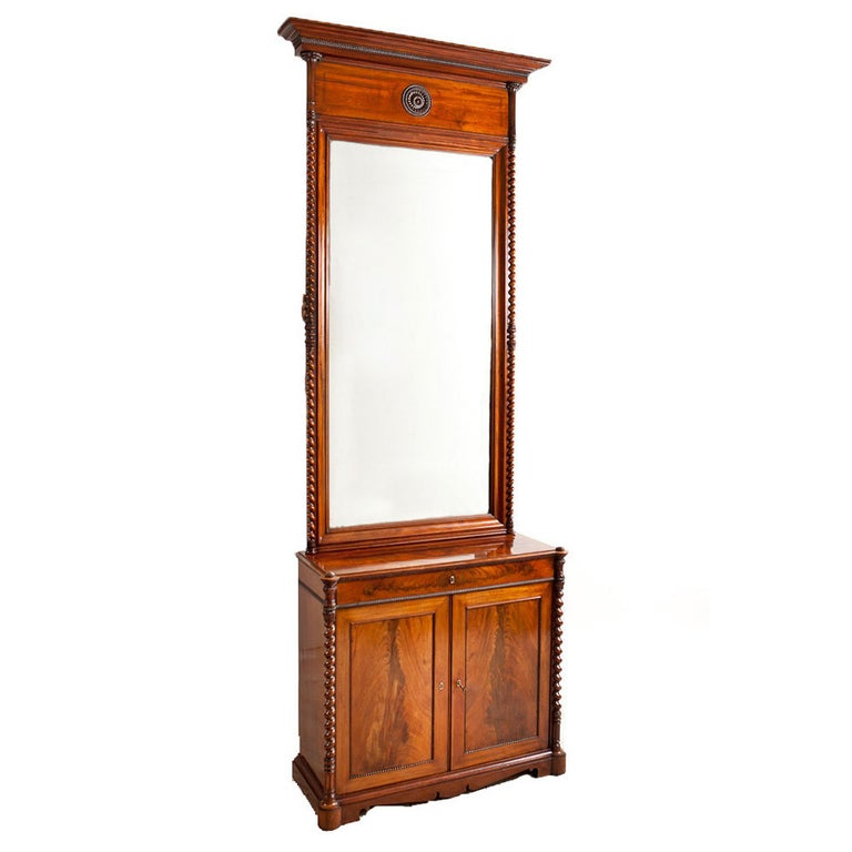 Empire Console w/ Tall Mirror in Cuban Mahogany, Northern Europe, c. 1835 For Sale