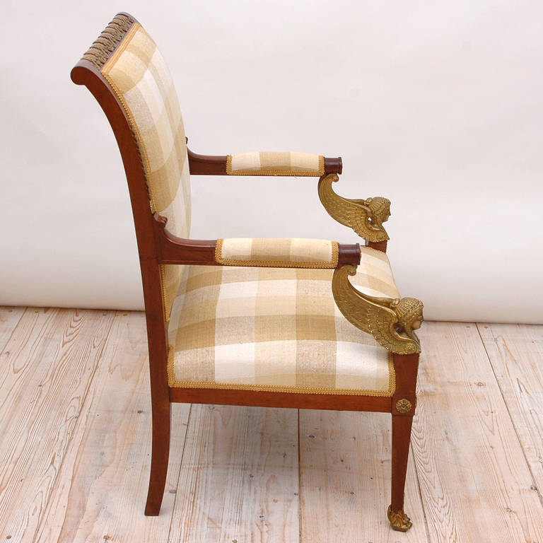 19th Century Pair of French Empire Fauteuils in Mahogany w/ Bronze Doré Ormolu, circa 1810 For Sale