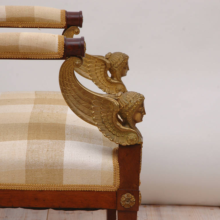 Pair of French Empire Fauteuils in Mahogany w/ Bronze Doré Ormolu, circa 1810 For Sale 2