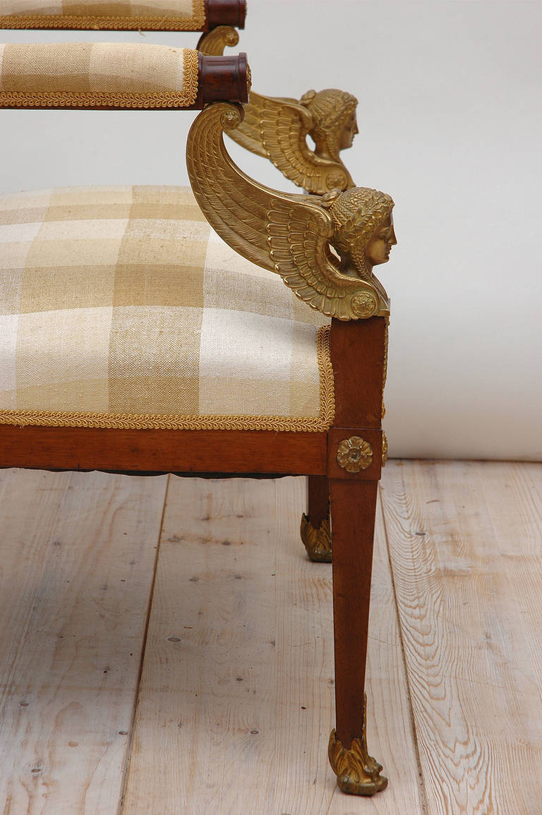 Pair of French Empire Fauteuils in Mahogany w/ Bronze Doré Ormolu, circa 1810 For Sale 1