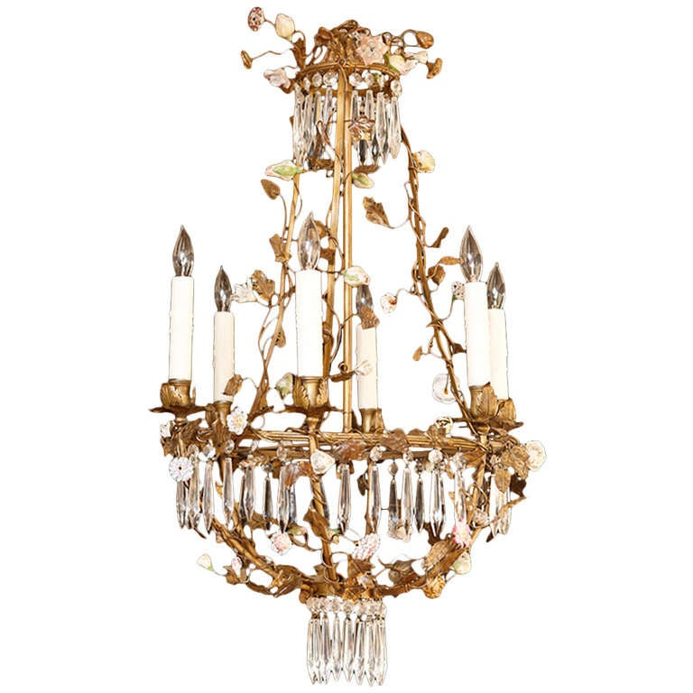 French Louis XV Style Foliate Chandelier with Porcelain