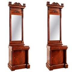 Pair of Biedermeier Consoles with Cabinet in Mahogany with Original Mirrors