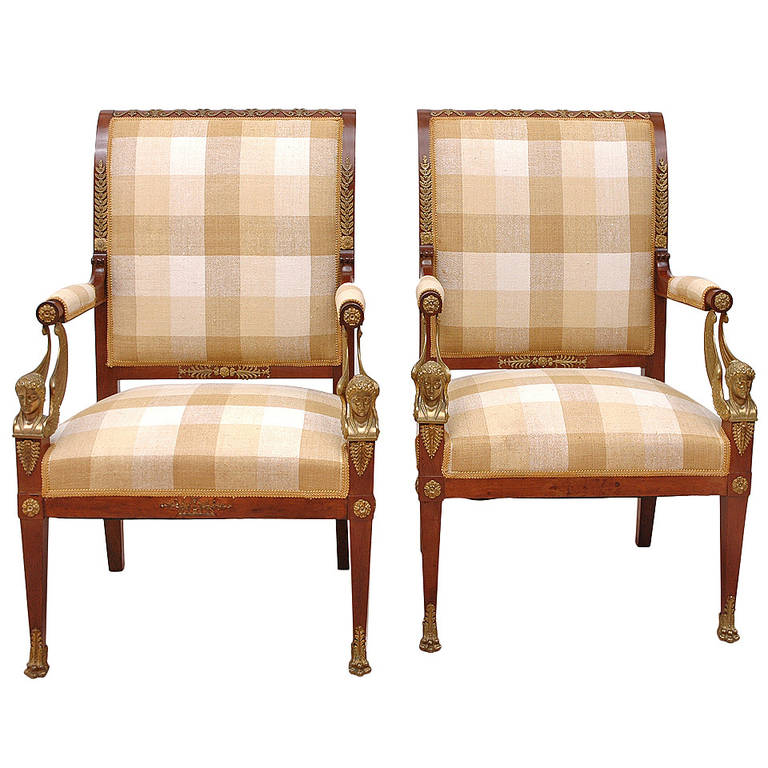Pair of French Empire Fauteuils in Mahogany w/ Bronze Doré Ormolu, circa 1810 For Sale