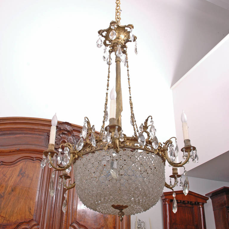 Belle 201 poque leaded cut glass and crystal chandelier at 1stdibs