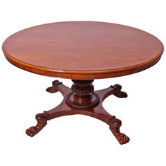 "52"" Danish Empire Round Center Pedestal Table in Mahogany, circa 1830"