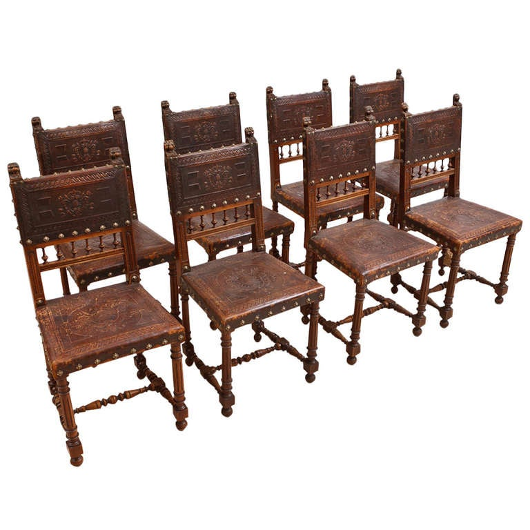 Neo Renaissance Traditional Formal Dining Upholstered Side: Set Of Eight French Neo-Renaissance Dining Chairs In