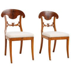 Pair of Biedermeier or Karl Johann Chairs in Birch, Sweden, circa 1820