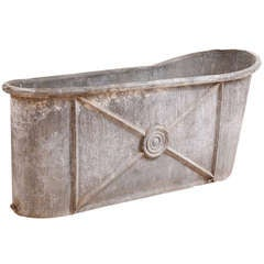 French Empire Bathtub in Zinc with Embossed Design, circa 1800