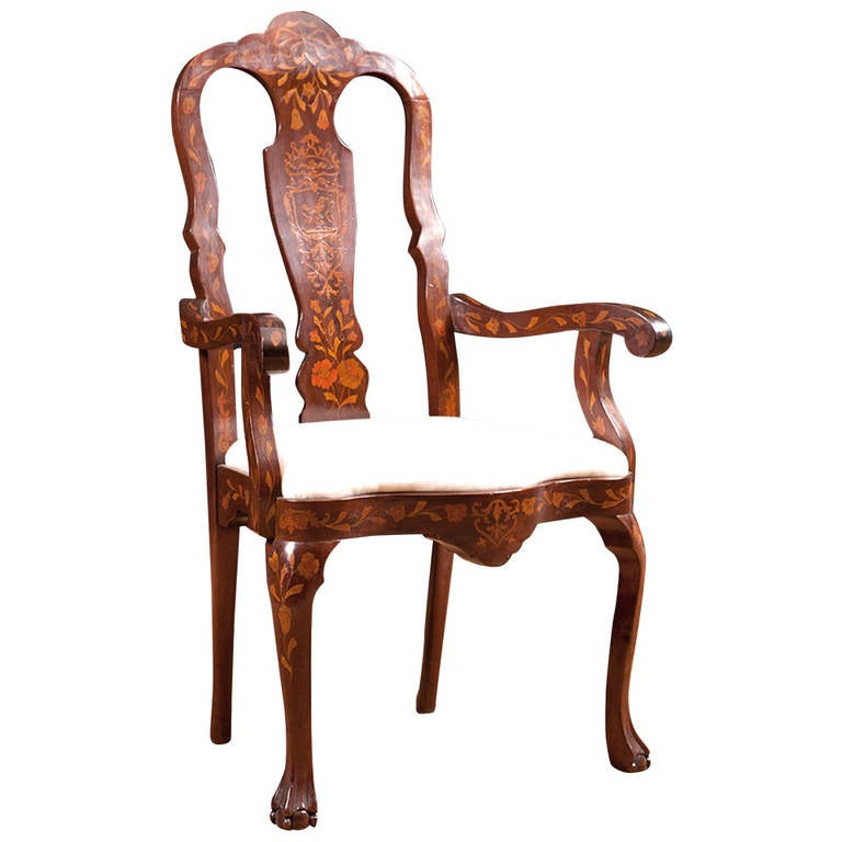 Marquetry Armchair with Satinwood Inlays, New York, circa 1890