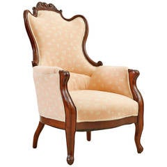 Scandinavian Newly Upholstered Bergere in Mahogany, c. 1860