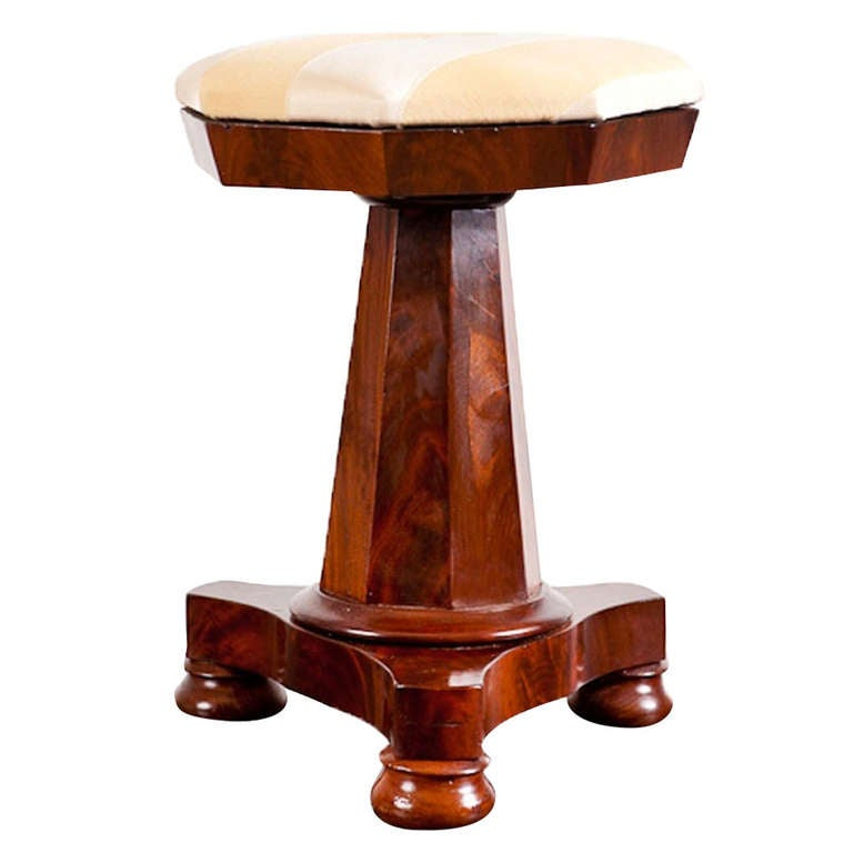 American Empire Piano Stool in Crotch Mahogany with Upholstered Seat, circa 1830 For Sale