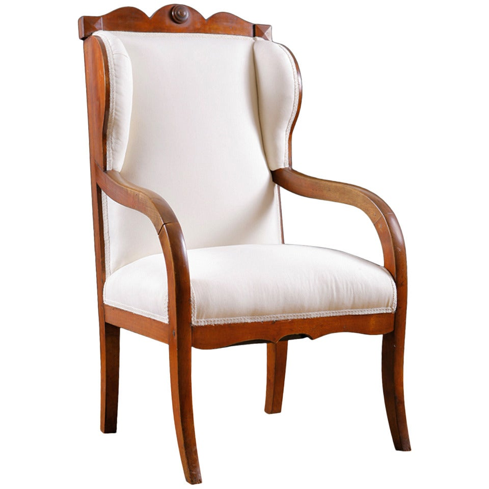 Biedermeier wingback armchair in birch circa 1825 for for Furniture 1825