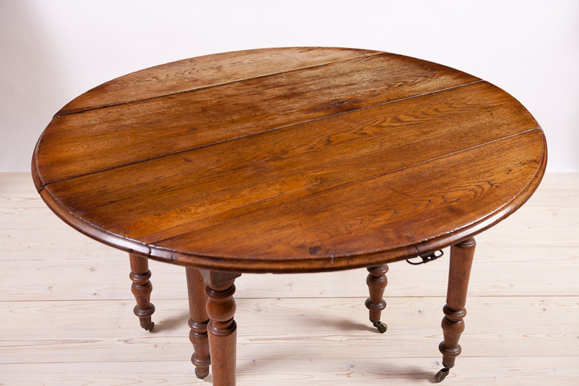 Century Flemish Oak Gate Leg Dining Table With Center Leaf At 1stdibs. Full resolution  img, nominally Width 1152 Height 768 pixels, img with #AE5316.