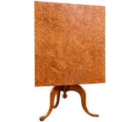 Swedish Square Tilt-Top Center Table in Birch and Burl Birch, circa 1790
