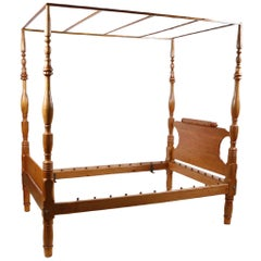 American Sheraton Four-Poster Full  Size Bed in Pine and Poplar, circa 1815