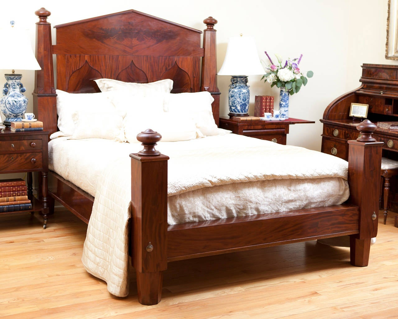 American empire bed in mahogany adapted to queen size c for American furniture bed frames
