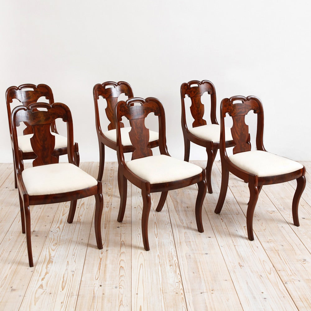 Set of six american empire dining chairs circa 1830 for for Dining room sofa seating
