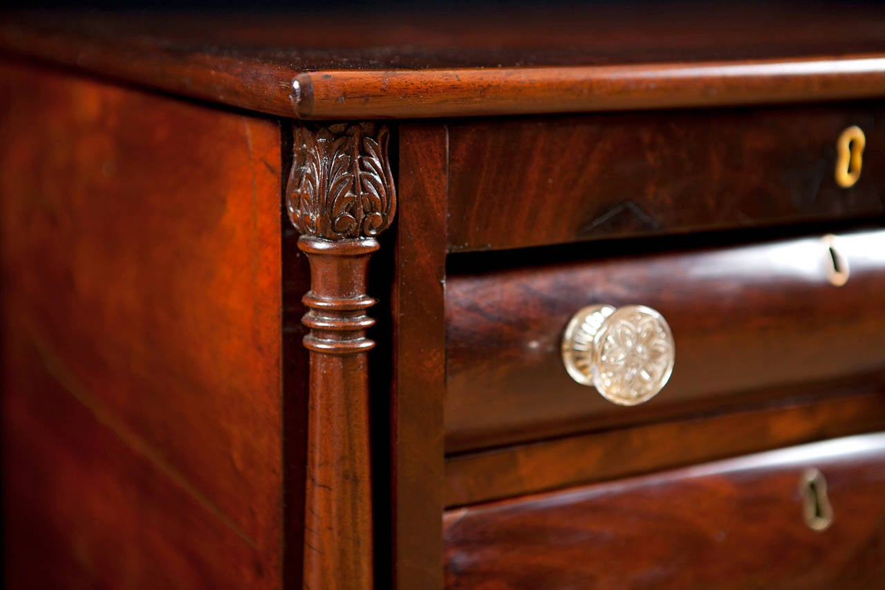 Early 19th Century American Empire Side Table with Writing Surface in Mahogany, circa 1825 For Sale