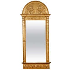 Tall Scandinavian Second Empire Giltwood Mirror, circa 1860