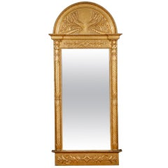 Tall Swedish Empire Mirror in Carved & Gilded Wood w/ Arched Top, c. 1825