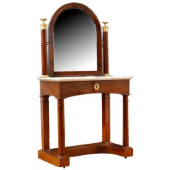 French Charles X Dressing Table w Bronze D'Ore Ormolu & White Marble, c 1820