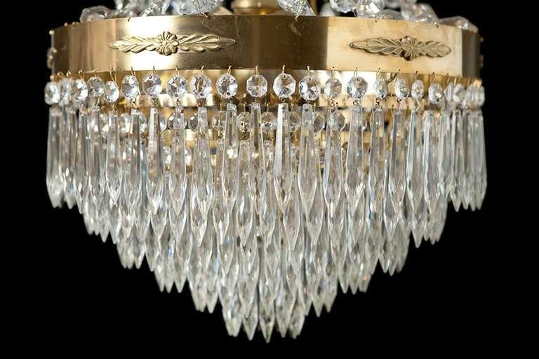 Faceted Cut Glass Crystal Chandelier Sweden C 1900 At